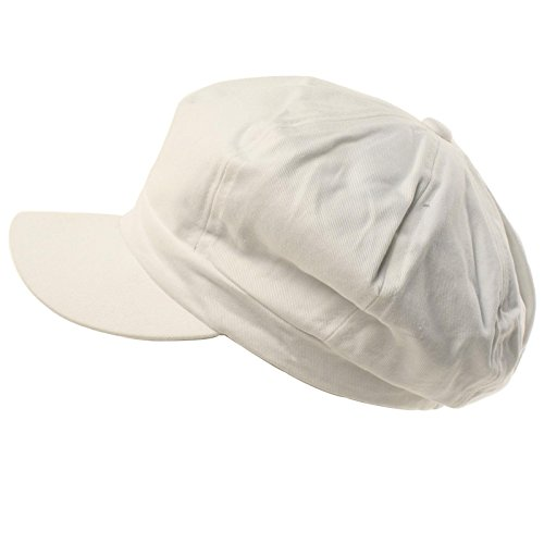Summer 100% Cotton Plain Blank 8 Panel Newsboy Gatsby Apple Cabbie Cap Hat White