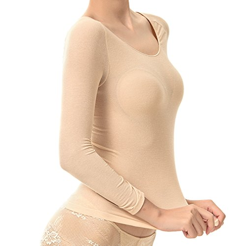 Fimage Women's Ultra Thin High Elastic Soft Cotton Seamless Thermal Underwear Tops Free Beige