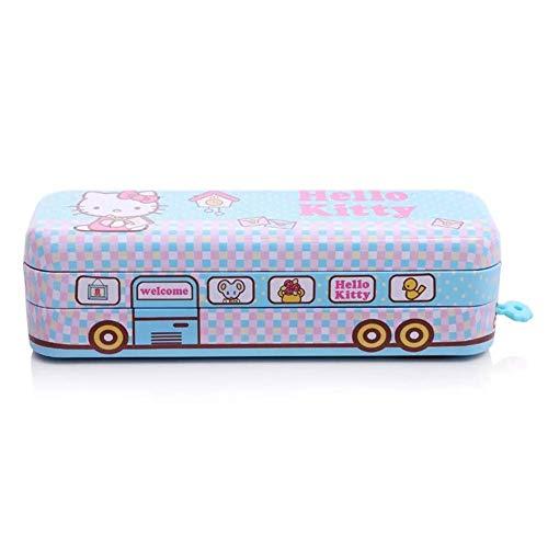 (Hello Kitty Pencil Box Student School Two-Layer Tin Pen Bus Shape Case Holder (Blue))
