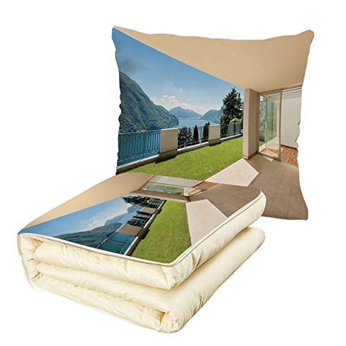 Quilt Dual-Use Pillow Modern Decor Apartment with Garden Mountain Scenery Lake Sea Scenery Image Print Multifunctional Air-Conditioning Quilt White Blue and ()