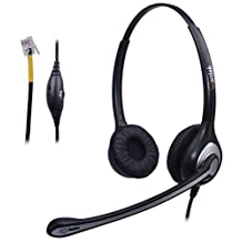 Wantek Binaural Telephone Headset with Noise Canceling Mic and Volume Mute Control for Yealink SIP-T19P T20P T21P T22P T32G T41P T38G T42G and Avaya 1608 1616 9620 9630 9640 9640G IP Phones(F602Y2)