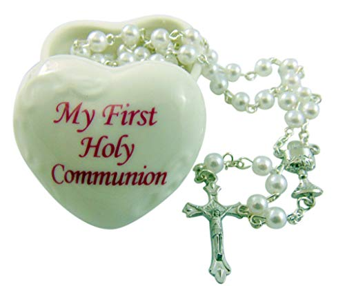 Porcelain Heart Keepsake Box - Lumen Mundi Girl's First Holy Communion Set with Porcelain Heart Shaped Keepsake Box and Rosary