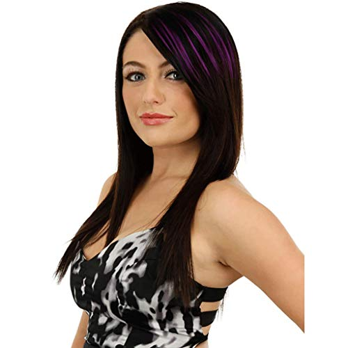 XJRHB Wig Color Bangs Highlights Gradual Realistic Seamless Hair Extensions (Color : Purple) (Brown Siren Wig)