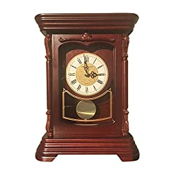vmarketingsite Mantel Pendulum Solid Wood Table Battery Operated. Quiet, Shelf Clock Westminster Chimes on the Hour. , 9.9 x 12.6 x 4.4, Mahogany