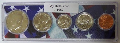 1987 - 5 Coin Birth Year Set in American Flag Holder Uncirculated (1987 Coin)