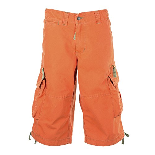 Combat Cargo Shorts - Mens Ultimate Cargo Dockers Combat Shorts 50006 - 100% Premium Backpackers Bermudas, Medium Hazard Orange