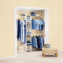 Rubbermaid 5'-8' Wardrobe Organizer Kit w/ 6-Shelf Melamine Cubby - White