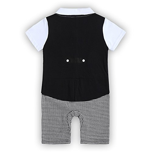 Baby Boys Romper, Toodler Short Sleeve Outfits Infant Tuxedo Onesie with Bow Tie