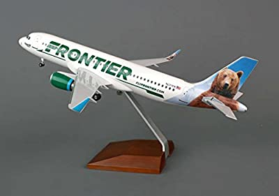 Daron Skymarks Supreme SKR8319 Frontier Airlines Airbus A320 1:100 Scale Display Model with Stand