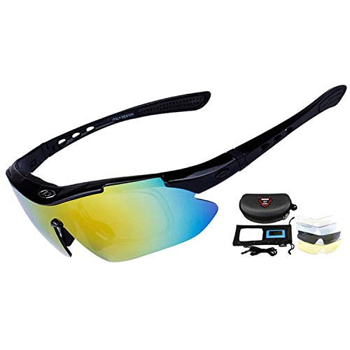 Professional Cycling Eyewear UV400 Polarized Cycling Glasses Bike Bicycle Glasses Sunglasses,Black