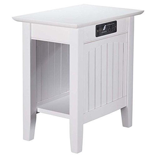 Atlantic Furniture AH13312 Nantucket Side Table Rubberwood, White by Atlantic Furniture