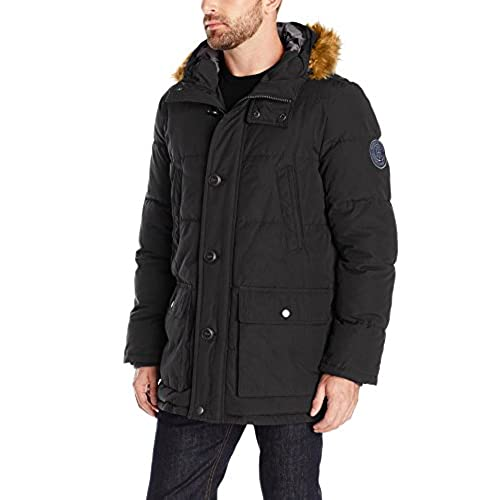 Men's Parka Fur Hood Black: Amazon.com