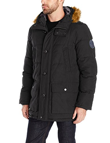 Tommy Hilfiger Men's Arctic Cloth Full Length Quilted Snorkel With Removable Faux Fur Trimmed Hood and Ultra Loft Isulation, Black, M
