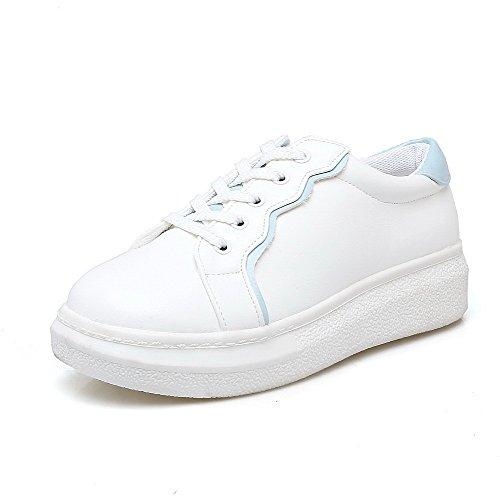 AllhqFashion Womens Lace-Up Round-Toe PU Low-Heels Assorted Color Pumps-Shoes Blue 1Uh0Q