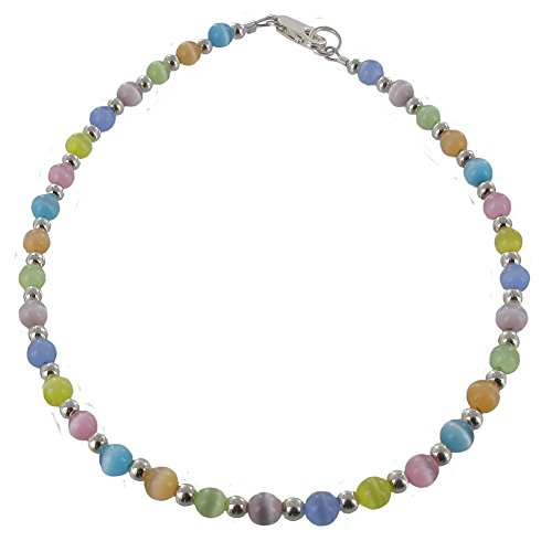 Timeless-Treasures Womens Multi Color Cat Eye (Fiber Optic) & Sterling Silver Ladies Beaded Anklet - 11