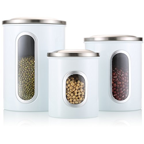 Airtight Window Kitchen Stainless Steel Canister with Fingerprint Resistance Lid for Coffee, Food, Snack Container Set of 3-30oz, 60oz, 90oz (White) (30 Ounce Canister)