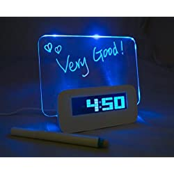 LED Light Fluorescent Message Board Eelctric Digital USB HUB Wall Alarm Clock Calendar for X'mas Gift