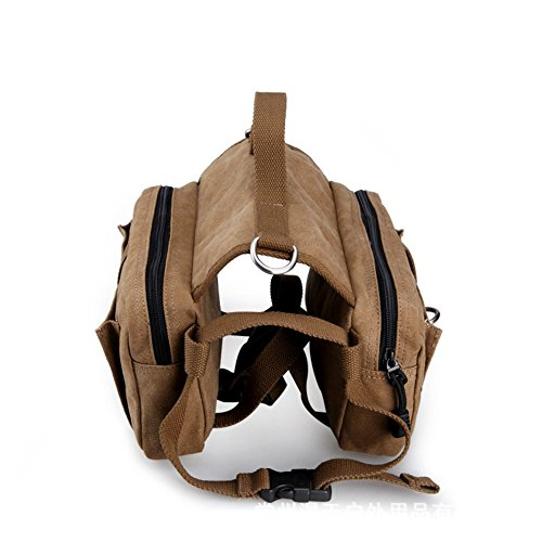 Pettom Cotton Canvas Dog Pack Hound Travel Camping Hiking Backpack Saddle Bag Rucksack for Medium & Large Dog (Hiking Dog Gear compare prices)