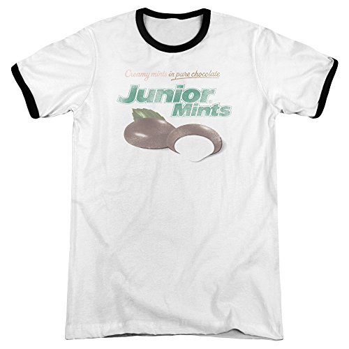 Tootsie Roll Junior Mints Logo Mens Adult Heather Ringer Shirt White/Black Xl ()