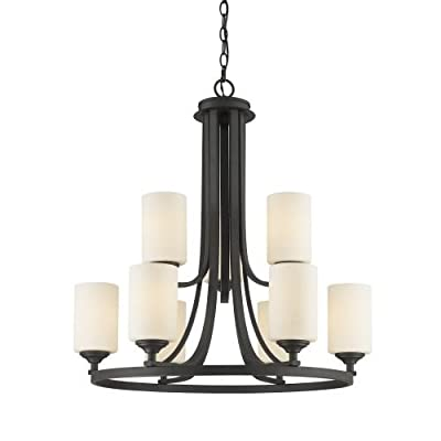 Z-Lite 435-9 Bordeaux 9 Light Chandelier with Matte Opal Glass Shade,