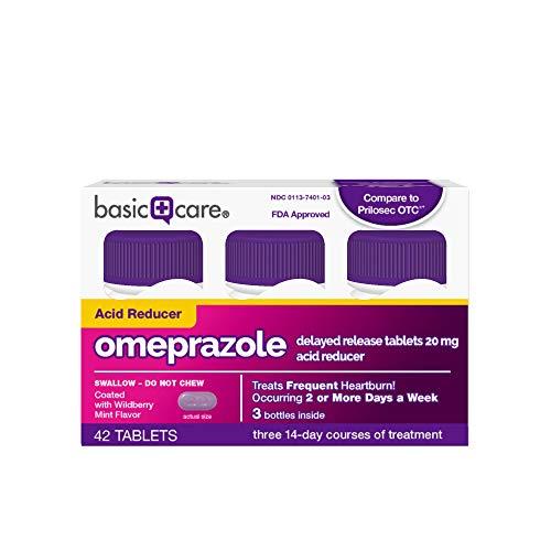 Basic Care Omeprazole Delayed Release Tablets Acid Reducer