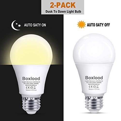 Dusk to Dawn A19 LED Light Bulb, Automatic On/Off, Built-in Light Sensor, 9-Watt (60-Watt Equivalent), 600-Lumen, 3000K Warm White, E26 Base Indoor Outdoor Security Night Lighting, 2-Pack by Boxlood
