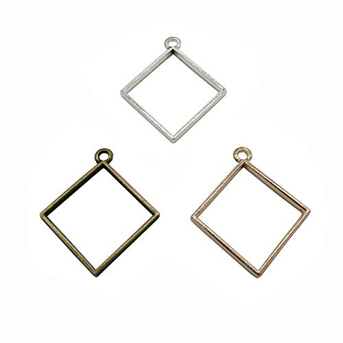 (30 Pcs Square Open Bezels for Resin,Open Back Bezel Pendant Blanks for DIY Resin Crafts Jewelry Making (Gold&Silver&Bronze))