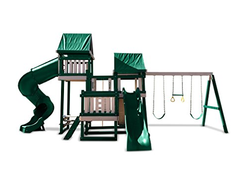 CONGO Monkey Playsystem #4 with Swing Beam - Green and Sand Low Maintenance Play Set