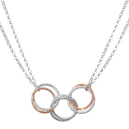Or Rose et collier en argent sterling Bijoux: Superbe Triple Lien (n292)