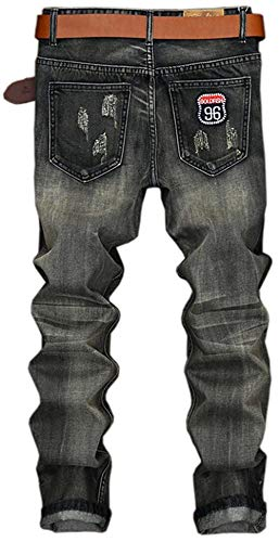 Dei Denim Grau Size 163 Distintivo Retrò Torn Dimagriscono Uomini 33 Pantaloni Cher Fori 32l Huixin Skinny Patch Jeans color Etero Casual 4StPWaq