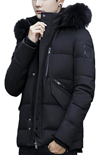 Black Down Collar Padded Generic Winter Coats Lined Men's Fur qPfBwHU