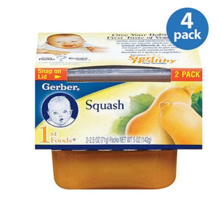 Gerber 1st Foods Baby Foods Squash 4 Pack.