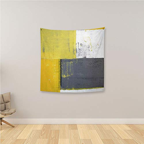 YOLIYANA Grey and Yellow Psychedelic Tapestries,Street Art Modern Grunge Abstract Design Squares Wall Hanging Tapestry for Restaurant Office,36.2