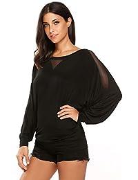Women's Casual Long Batwing Sleeve Drape Top Patchwork Jersey T Shirts
