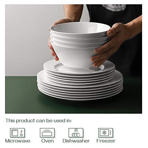 DOWAN Ceramic Soup Bowls, 32 Ounces White Ramen Bowl for Noodle, Porcelain Salad Bowls Set of 4, Large Cereal Bowls for Kitchen, Dishwasher & Microwave Safe