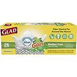 Glad Medium Quick-Tie Trash Bags - OdorShield 8 Gallon White Trash Bag, Gain Original with Febreze Freshness - 26 Count Each (Pack of 6)