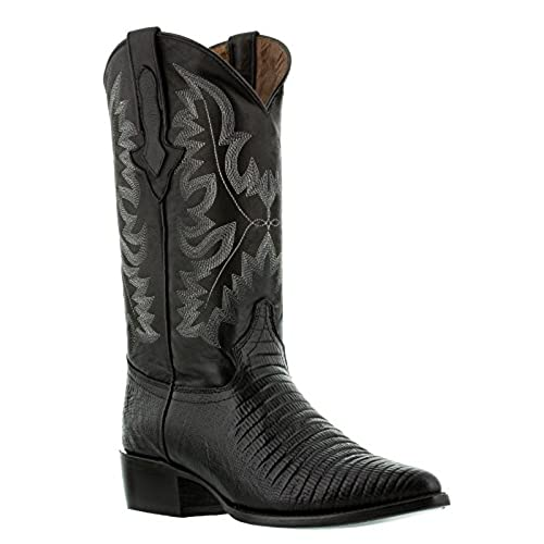 El Presidente Men's Black Teju Lizard Print Western Leather Cowboy Boots J Toe