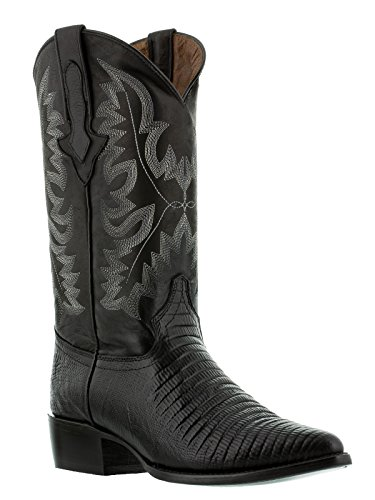 - El Presidente - Men's Black Teju Lizard Print Western Leather Cowboy Boots J Toe 13.5 EE