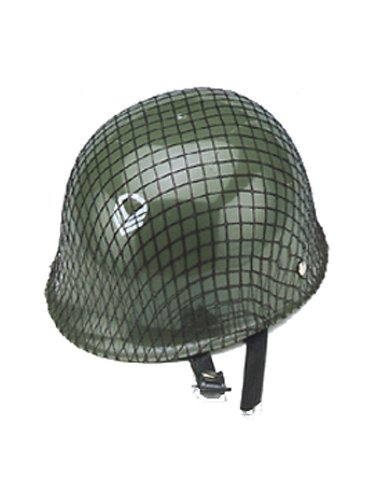 [Jacobson Hat Company Child's Plastic Netted Army Helmet, Green] (Child Army Soldier Costumes)