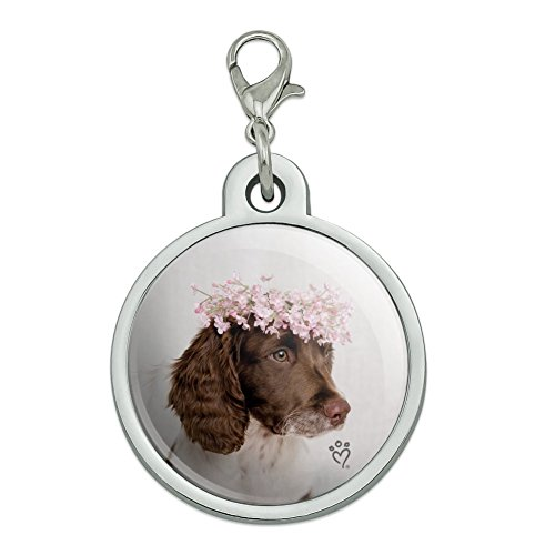 Graphics and More Springer Spaniel Dog Flower Blossom Tiara Chrome Plated Metal Pet Dog Cat ID Tag - Large