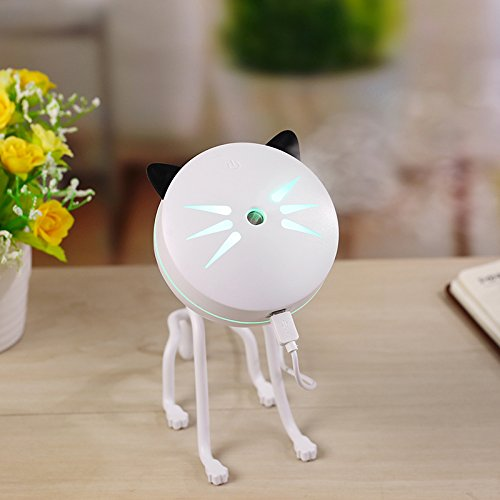 150ml Cute Cat humidifier,Portable USB LED Glowing Humidifier Essential Oil Diffuser Aromatherapy for Car, Office, Home Bedroom Living Room Study Yoga Spa (white) by szMZTX electronics (Image #2)