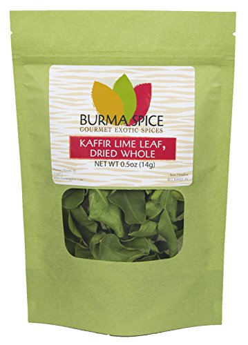Dried Kaffir Lime Leaves, used in Tom Yum Thai soup from Citrus Hystrix plant, Makrut, -