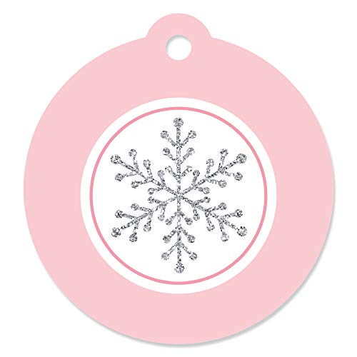 Pink Winter Wonderland - Holiday Snowflake Birthday Party or Baby Shower Favor Gift Tags (Set of ()