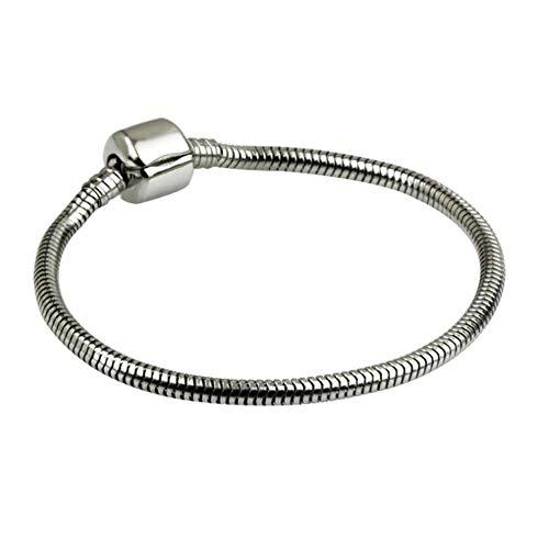 BlinkingSoul Kids Snake Charms Bracelet for European Bead Charms Stainless Steel Snake Chain (Steel Pandora Bracelet)
