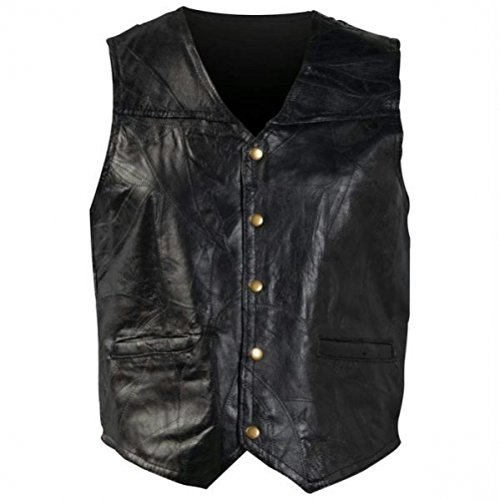 Giovanni Navarre Italian Stone Design Genuine Leather Vest - XL (Genuine Coat Stone Leather Italian)
