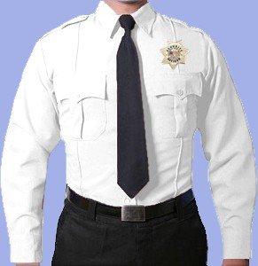 First Class 100% Polyester Long Sleeve Mens Uniform Shirt White