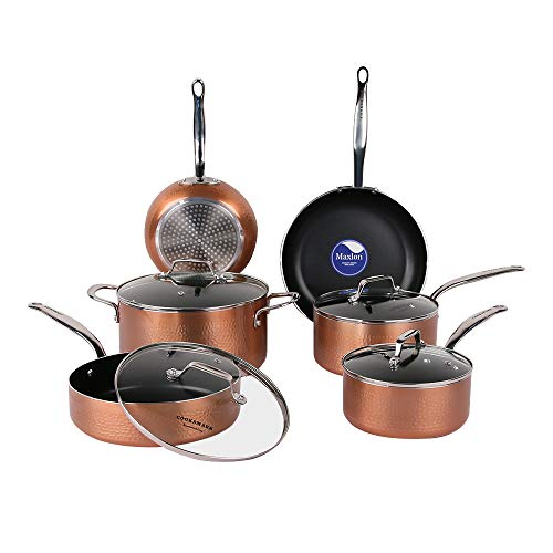 COOKSMARK 10 Piece Cookware Set with Nonstick Coating, Induction Pots and Pans set Dishwasher Safe Aluminum Hammering Copper