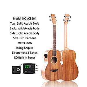 Caramel CB204 All Solid Acacia Baritone Acoustic Electric Ukulele with Truss Rod 41gJMIlKECL