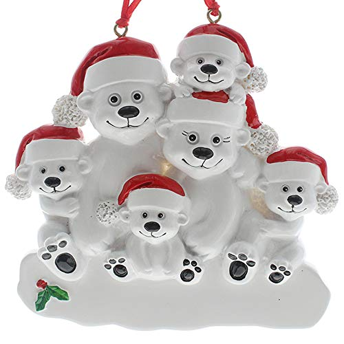 SMYER Polar Bear Family Personalize Christmas Ornament, Free Pen Included with Gift Box, Made of Resin(6 Heads)