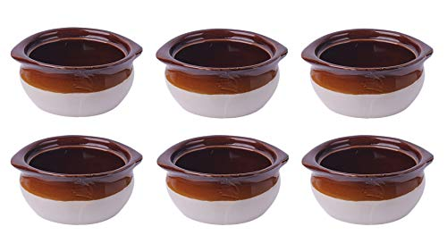 (Porcelain Ceramic Onion Soup Crock Bowl,set of 6 for Dinner Meals. Healthy Portion Size,Brown and Beige,Small 10 Ounce.)